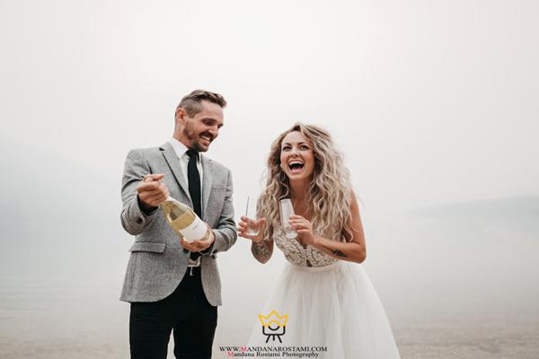 ژست خنده دار عروس و داماد