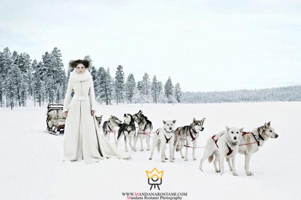 ایده های ژست عکاسی عروس در فصل زمستان