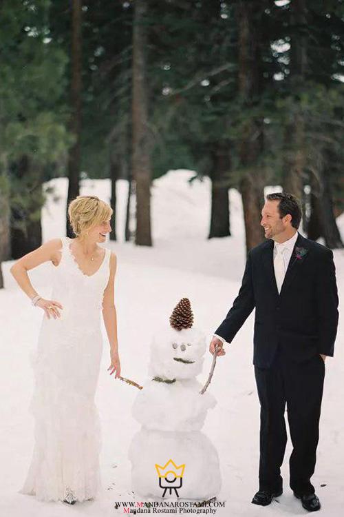 ژست عروس و داماد و آدم برفی