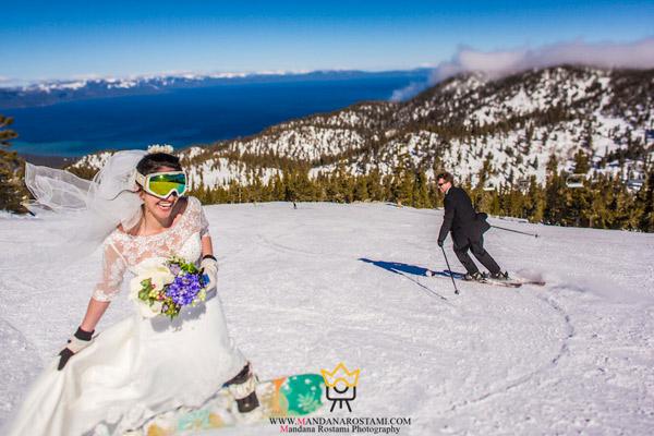 اسکی روی برف عروس و داماد