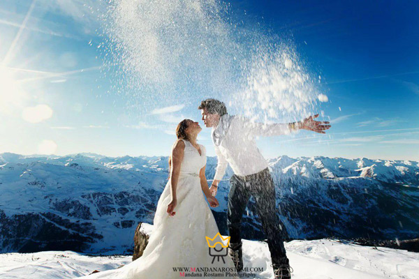 ژست برف بازی عروس و داماد