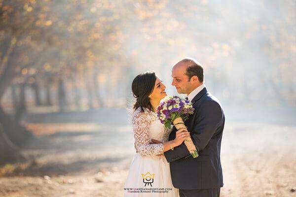 نمونه کار عکس عروس داماد در فضای باز