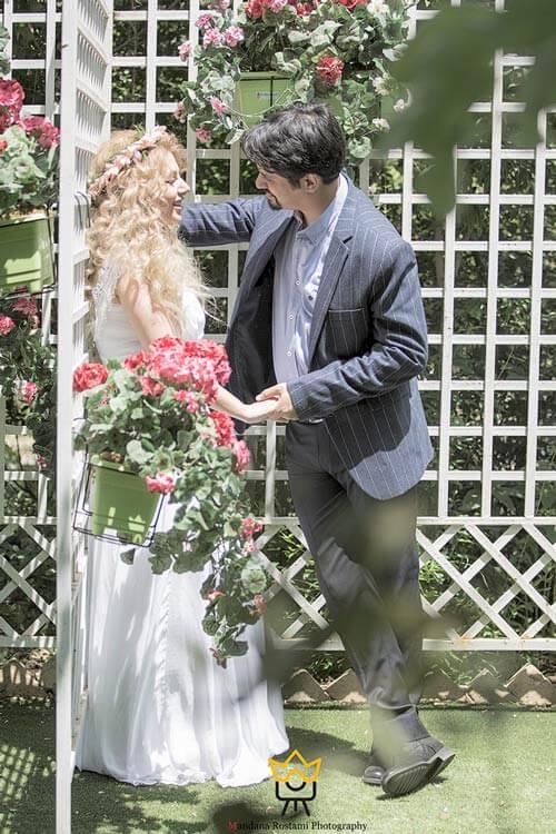 نمونه کار عکس عروس داماد در باغ