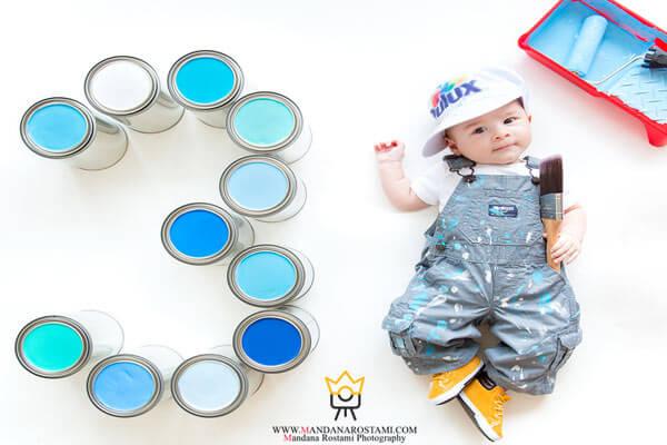 آتلیه نوزاد ماندانا رستمی و عکس ماهگرد نوزاد دختر و پسر